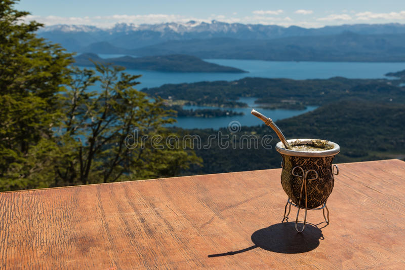 Yerba mate tea in calabash gourd royalty free stock images