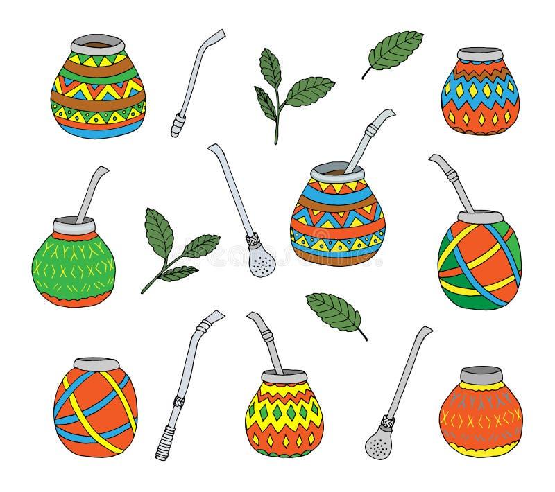 Yerba mate tea leaf, calabash gourd and bombilla colored, hand drawn stock photo