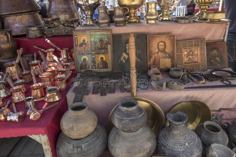 Yerevan, Armênia, o 17 de setembro de 2017: Produtos regionais no m fotos de stock