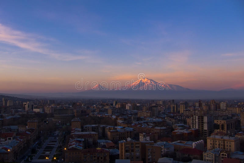 Yerevan, Armenia. Yerevan - the capital city of Armenia in the early morning with the legendary Mt. Ararat in the background (5137 m stock photo