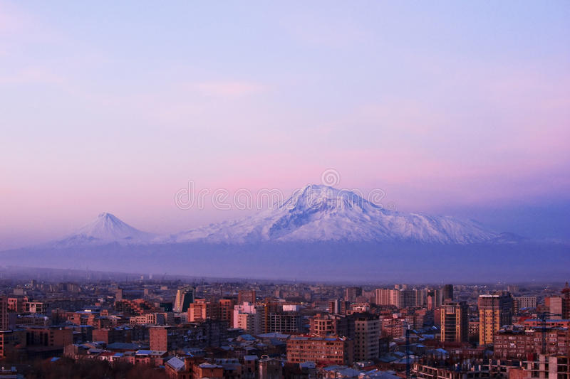 Yerevan, Armenia. Yerevan - the capital city of Armenia in the early morning with the legendary Mt. Ararat in the background (5137 m stock photography