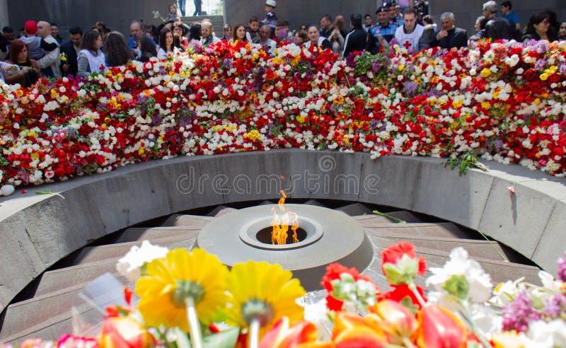 Yerevan, Armenia- April 24, 2019.  Armenian time.Armenian people visiting  Armenian Genocide Memorial monument in Cicernakaberd Ye. Yerevan, Armenia- April 24 stock photo