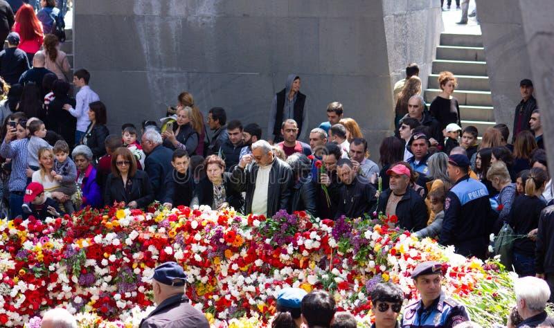 Yerevan, Armenia- April 24, 2019.  Armenian time.Armenian people visiting  Armenian Genocide Memorial monument in Cicernakaberd Ye. Yerevan, Armenia- April 24 royalty free stock photos