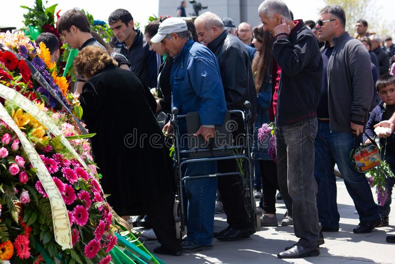 Yerevan, Armenia- April 24, 2019.  Armenian time.Armenian people visiting  Armenian Genocide Memorial monument in Cicernakaberd Ye. Yerevan, Armenia- April 24 royalty free stock photo
