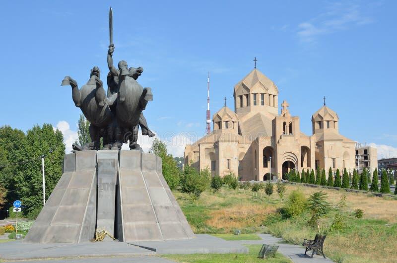 Yerevan, Armenia, September, 06, 2014, the monument to General Ozanian (Zoravar Andranik) in front of Cathe stock photo