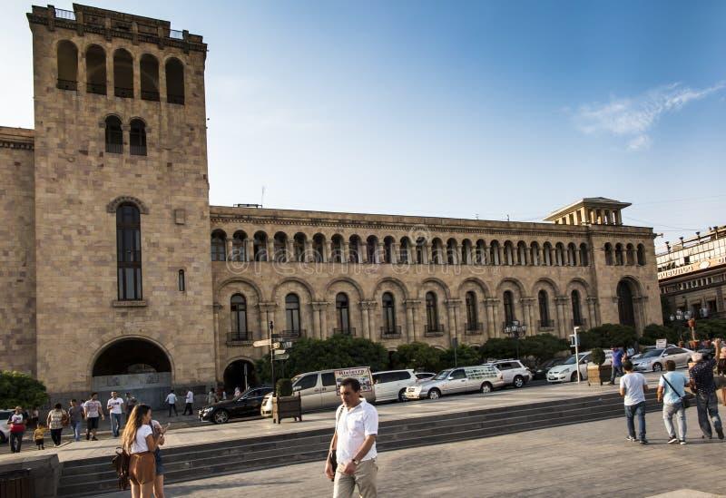 Yerevan, Armenia - 17 settembre 2017: Costruzione sulla Repubblica Squa fotografia stock libera da diritti