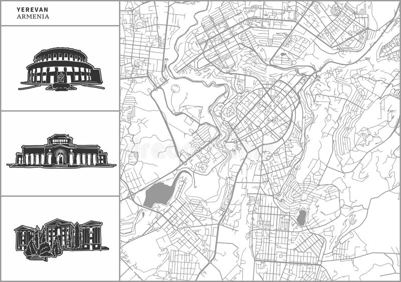 Yerevan city map with hand-drawn architecture icons vector illustration