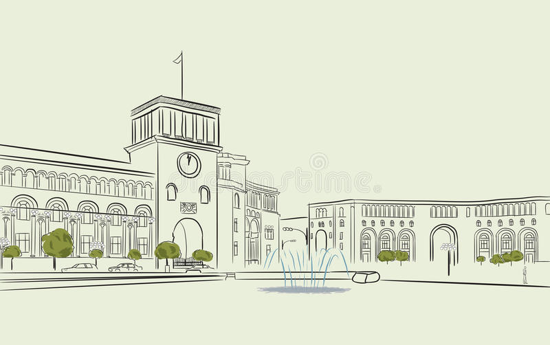 Yerevan, Republic Square, Armenia stock illustration