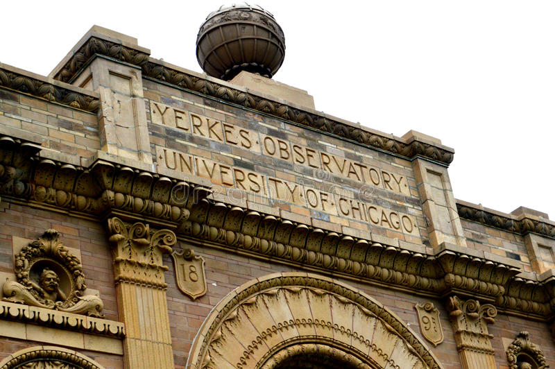 Yerkes Observatory Close Up. This is a close up of part of the Yerkes Observatory, which is part of the University of Chicago, located in Williams Bay, WI. White stock photos