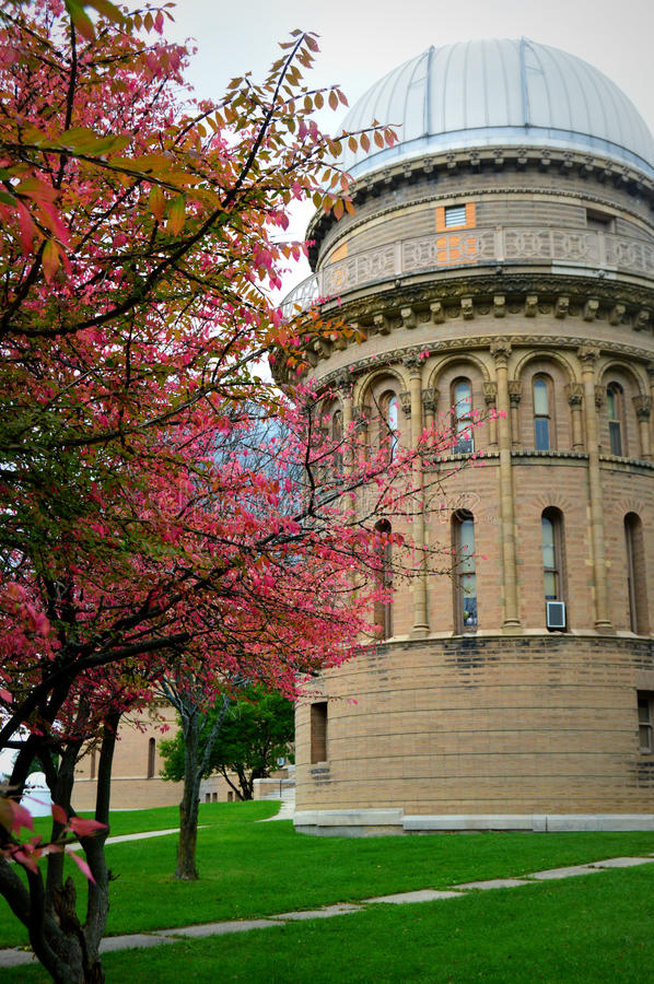 Yerkes Observatory Fall. This is a part of the Yerkes Observatory, which is part of the University of Chicago, located in Williams Bay, WI. The tree in the royalty free stock photos