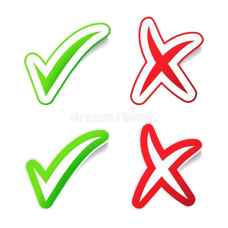 Download YES & NENHUMAS Etiquetas De Checmarks Ilustração do Vetor - Ilustração de símbolo, ilustração: 26523065