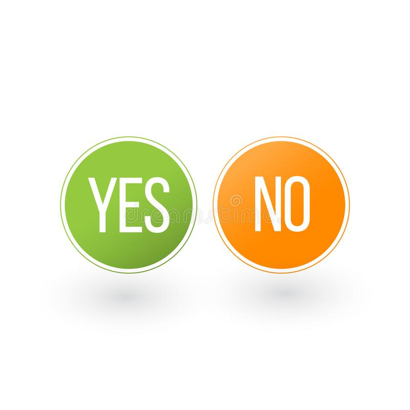 Free Yes And No Button Icons, Vector Illustration Isolated On White Background Royalty Free Stock Photography - 140960027