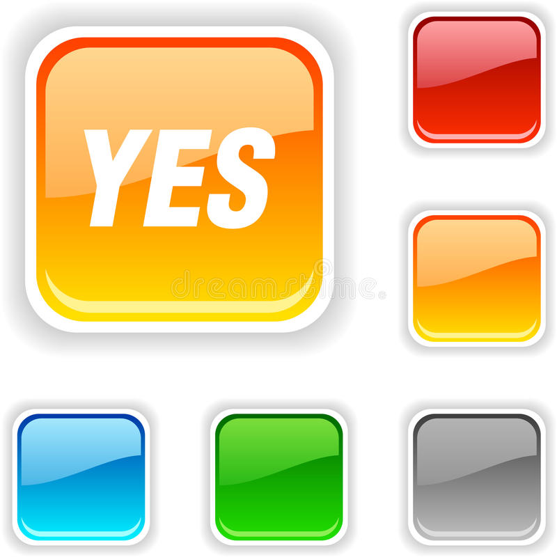 Download Yes   button. stock vector. Image of shiny, button, glossy - 11845814