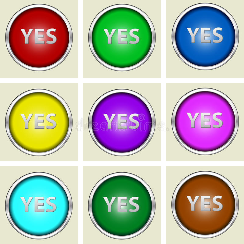 Yes buttons. A set of colorful buttons with yes label royalty free stock photography