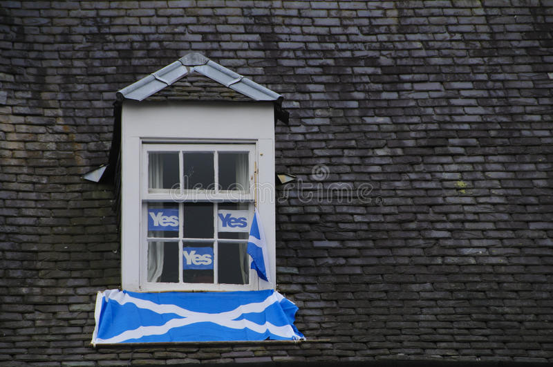 Yes campaign Scottish Indy Ref. SCOTLAND Perth -- 14 Sep 2014 -- Yes display in a window of an apartment in Perth, Scotland, UK. Campaigning by both camps royalty free stock photography