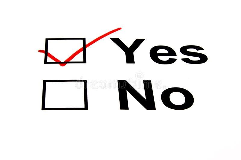 YES Checkbox wählte - getrennt auf Weiß aus stockfoto