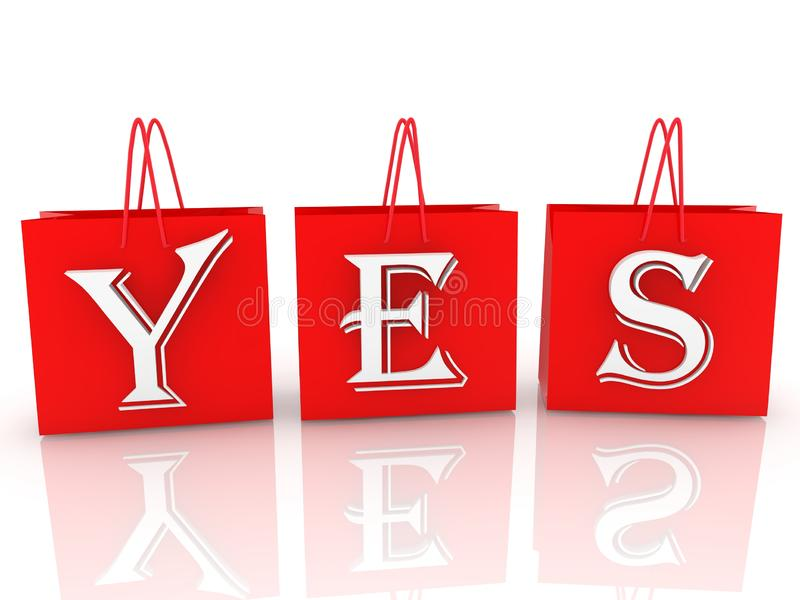 Yes concept on red shopping bags vector illustration