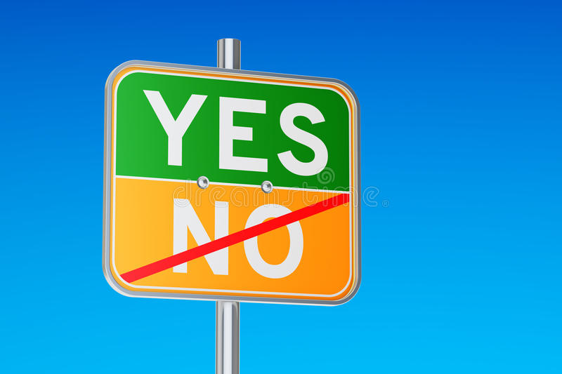 Yes concept on the road signpost. 3D rendering vector illustration
