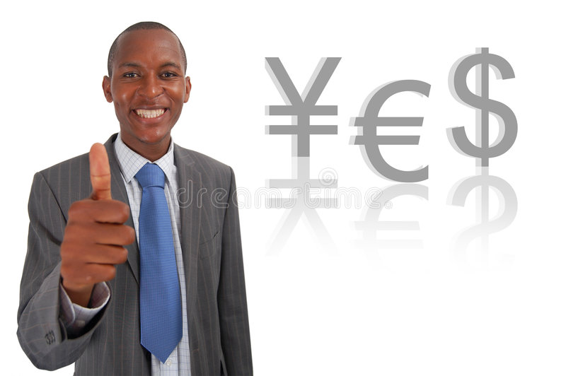 Yes Currency (Euro). This is an image of businessman giving thumbs up, to represent an economic Yes. This image can be used to represent good shares and good stock images