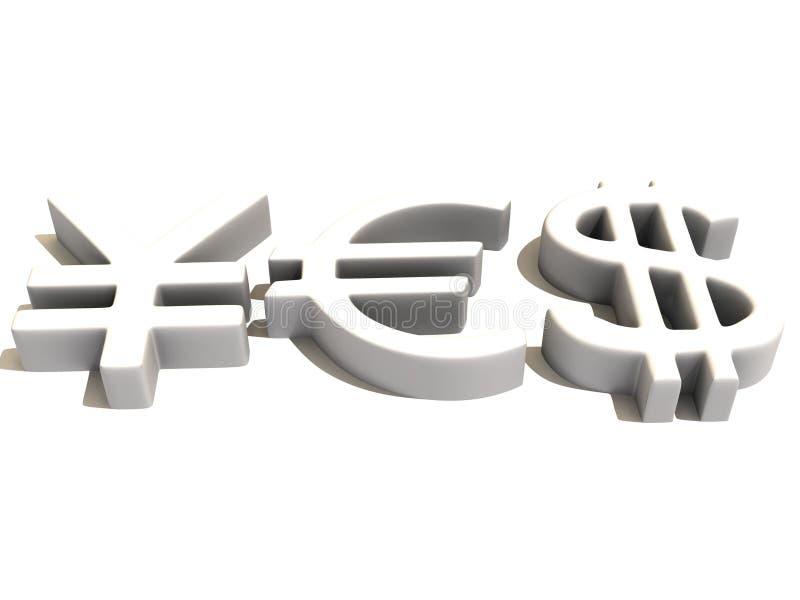 YES dos sinais ienes, dólar e euro. 3d ilustração royalty free