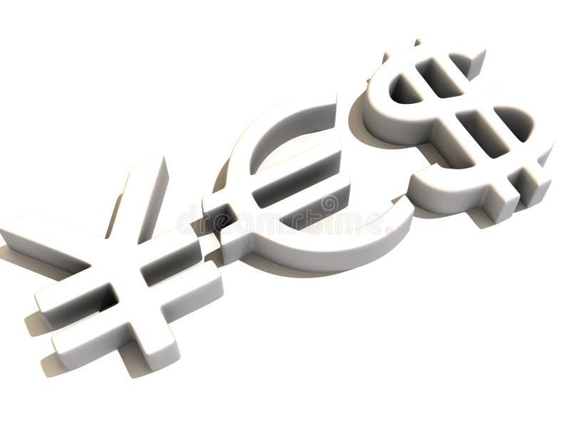 YES dos sinais ienes, dólar e euro ilustração royalty free