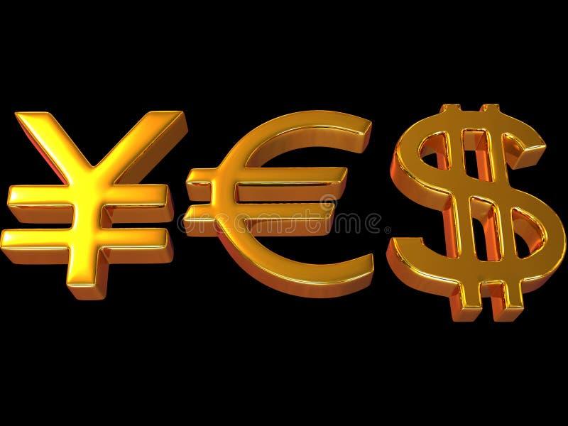 YES dos sinais ienes, dólar e euro. ilustração royalty free