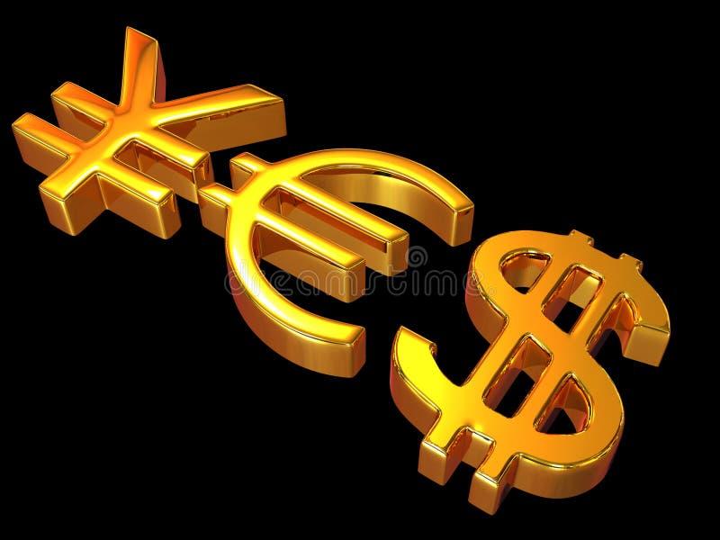 YES dos sinais ienes, dólar e euro ilustração stock