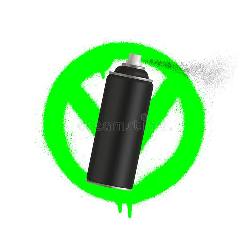 Yes Graffiti spray can sign icon. Aerosol paint symbol. Red prohibition sign. Stop symbol. Vector illustration. Eps 10 royalty free illustration