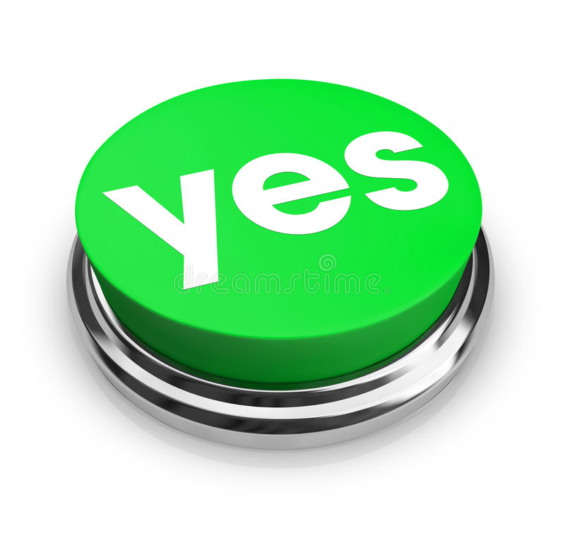 Yes - Green Button. A green button with the word Yes on it