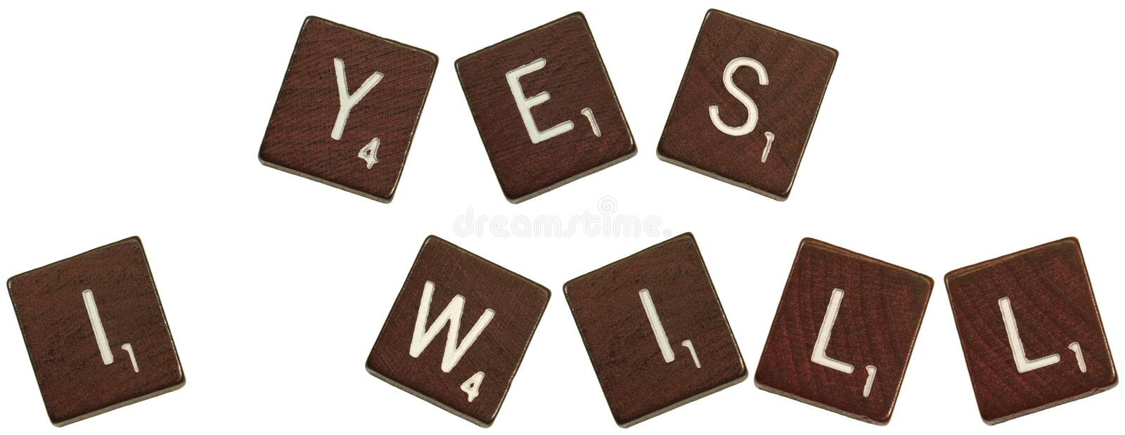 Download Yes I will scrabble stock image. Image of copy, space - 9215911