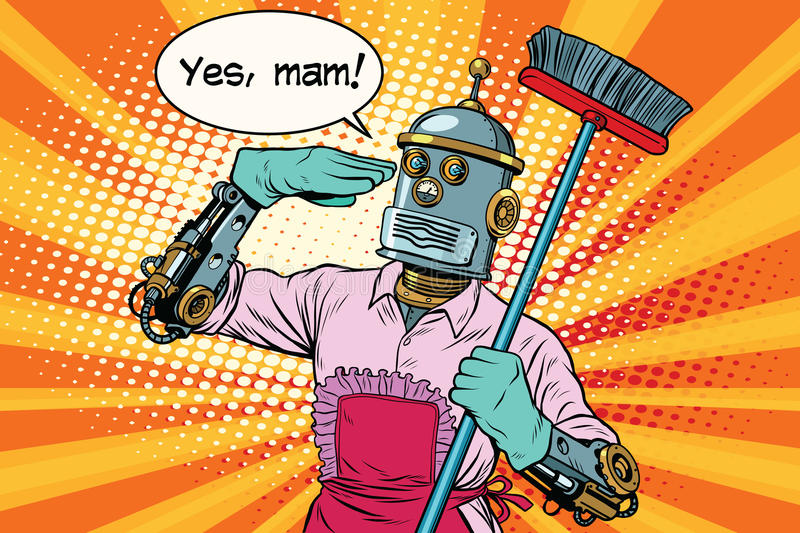 yes mam robot and cleaning the house stock vector