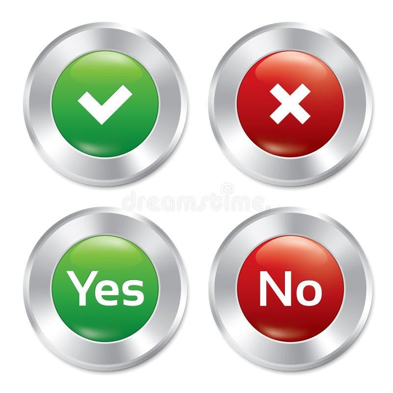 Yes metálico, nenhum grupo do molde dos botões. ilustração do vetor