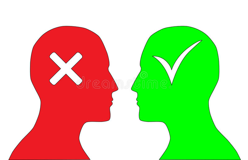 Yes and no. Red and green silhouettes of human heads with tick, cross symbols stock illustration