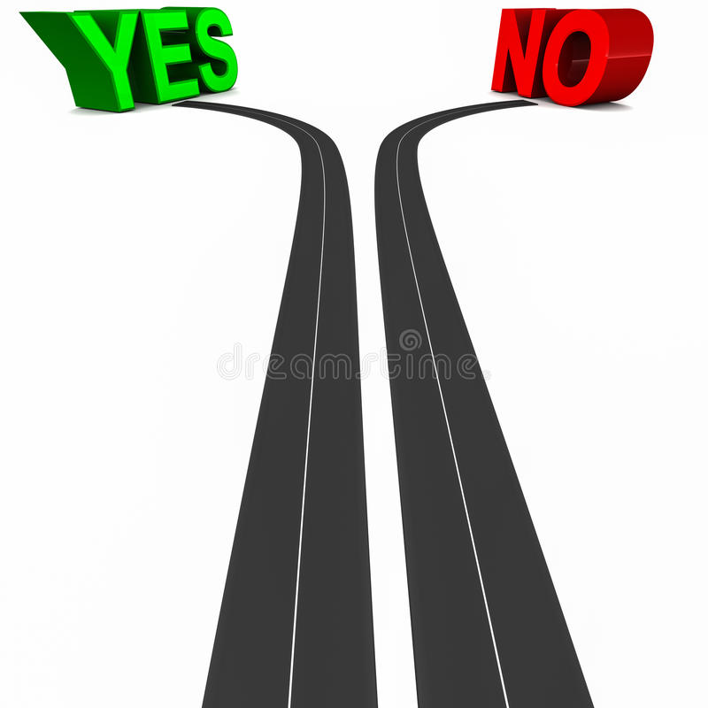 Yes or no. Roads divided and leading separately to either yes or no, clarity of choice concept vector illustration