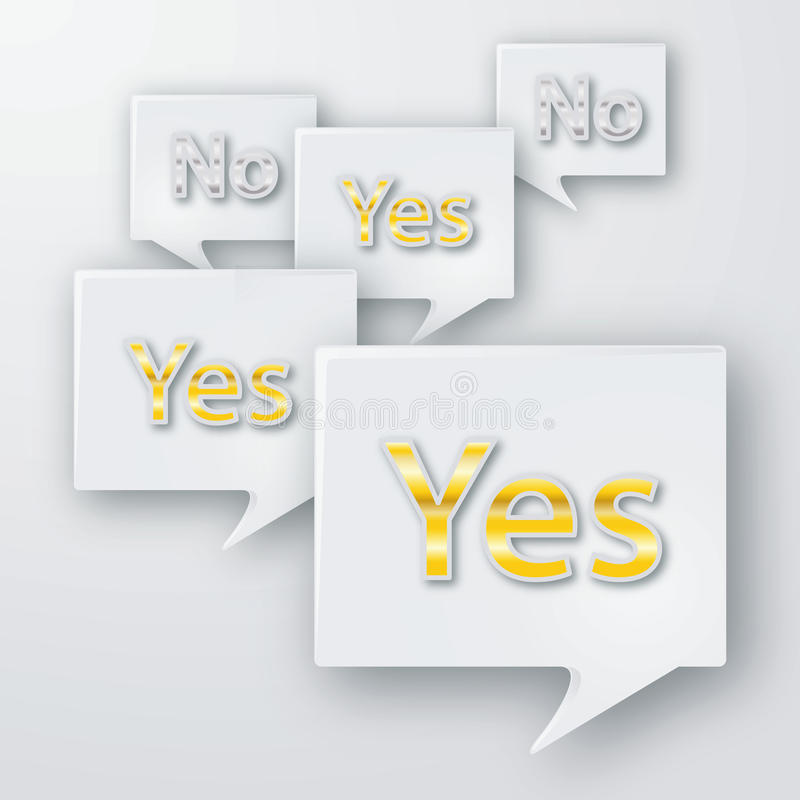 Yes and no bubbles. And decisions stock illustration