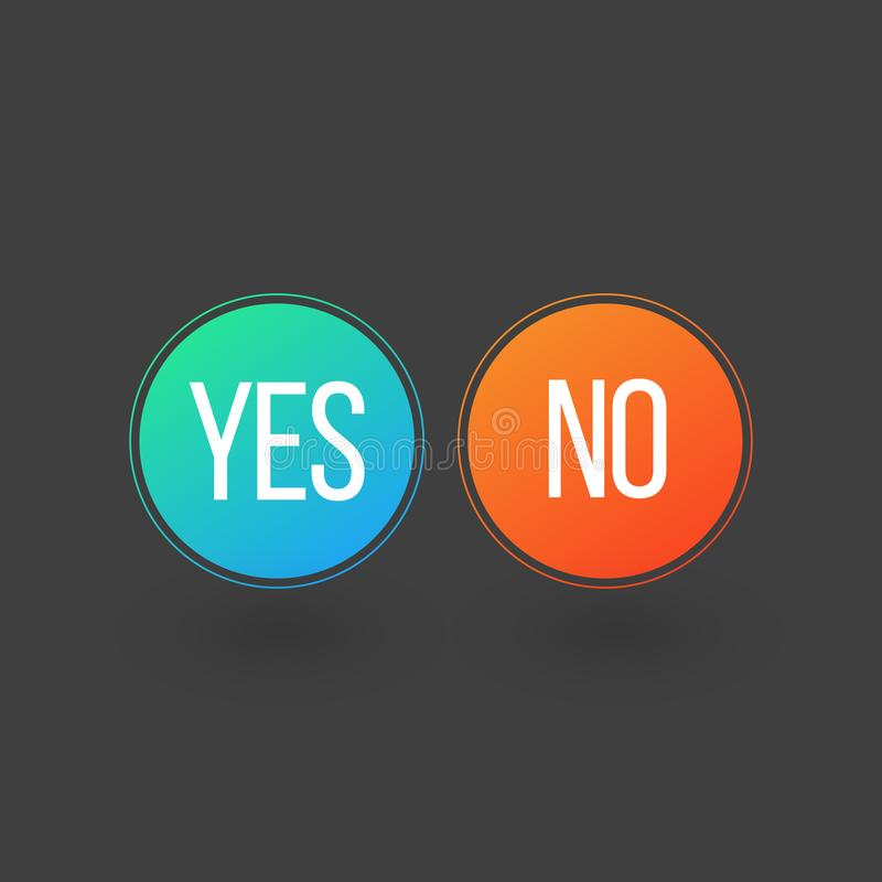 Yes and No Button Icons, vector illustration isolated on grey background stock illustration