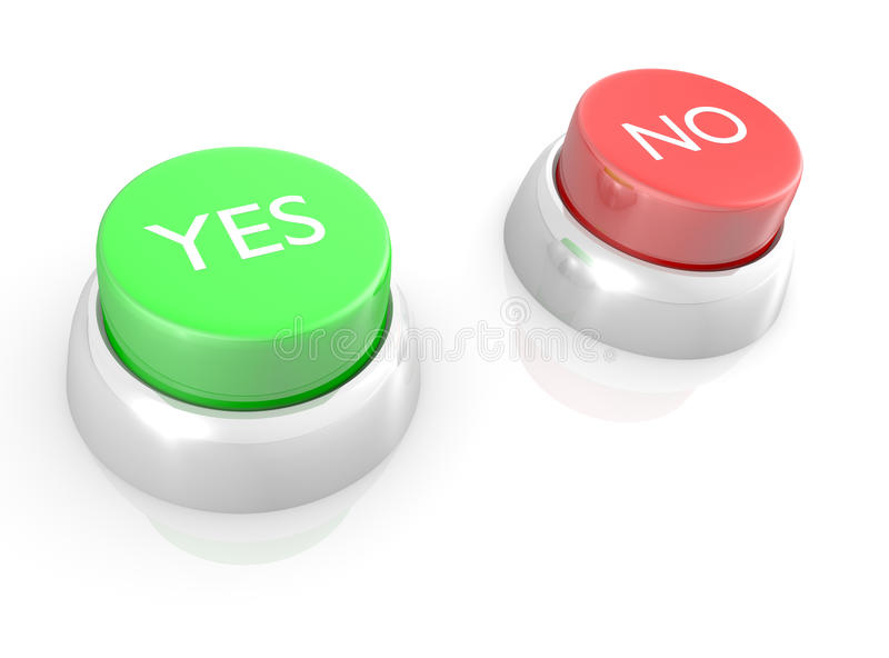 YES and NO buttons stock image