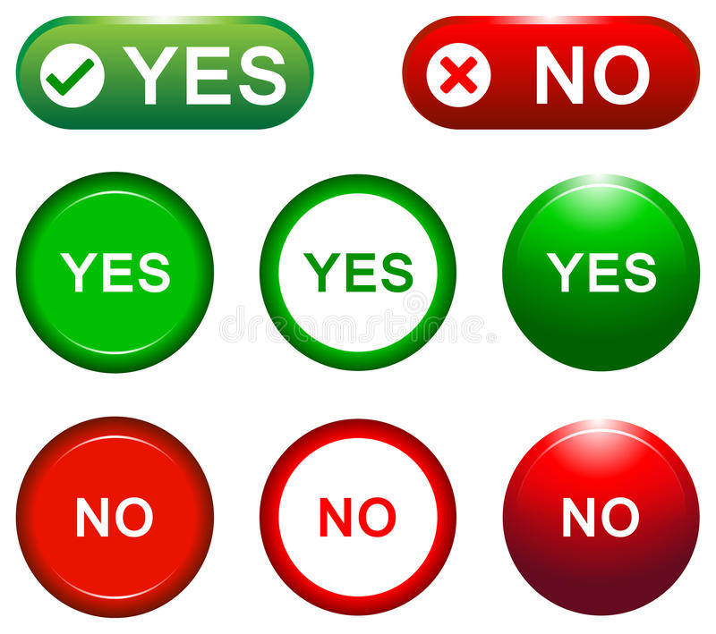 Yes and no buttons. Collection of eight colorful yes and no web buttons royalty free illustration