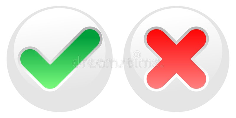 Yes-No Buttons - White Stock Images