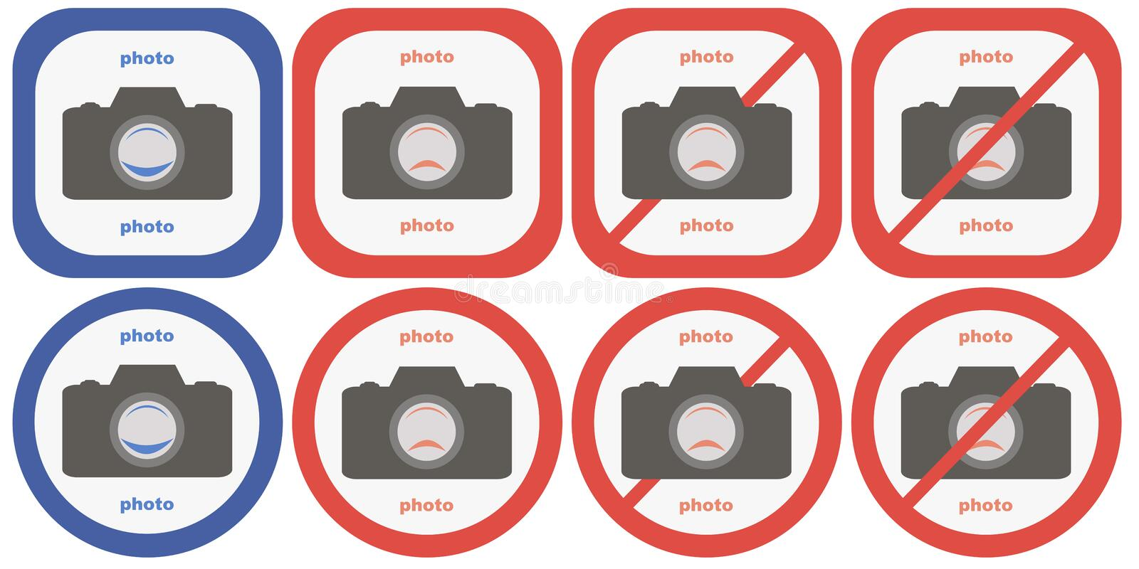 Yes And No Camera Symbols Stock Illustration Illustration Of