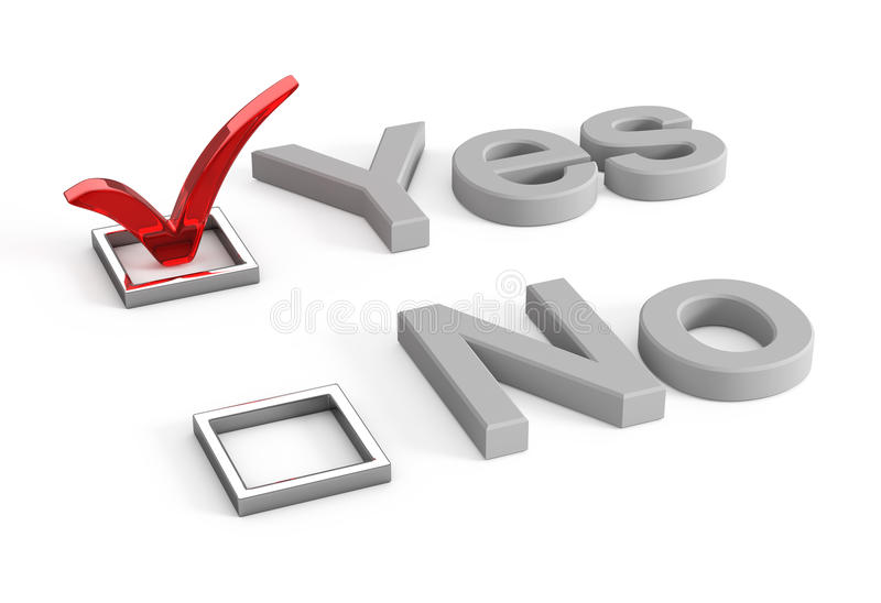 Download Yes And No Check Boxes With Check Mark In The Yes Stock Illustration - Illustration of check, chrome: 11281581
