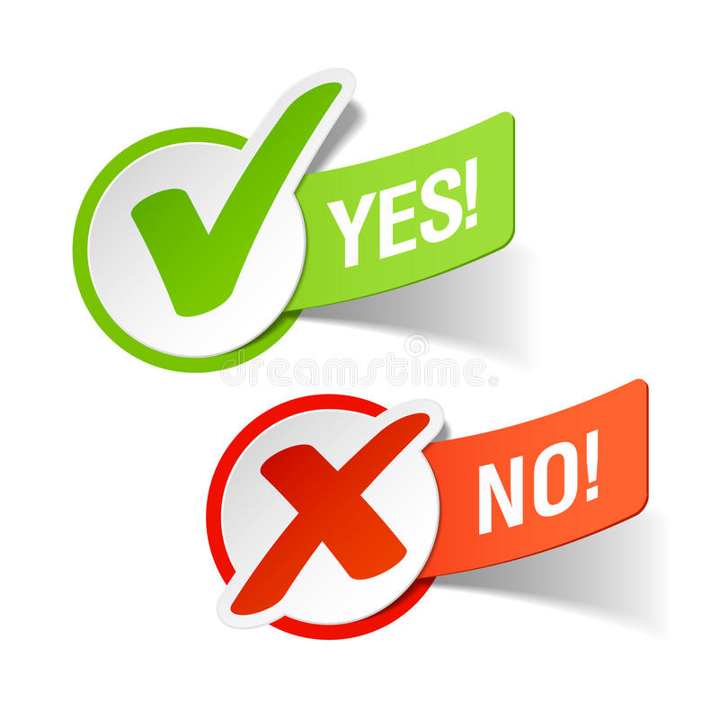 Yes and No check marks vector illustration