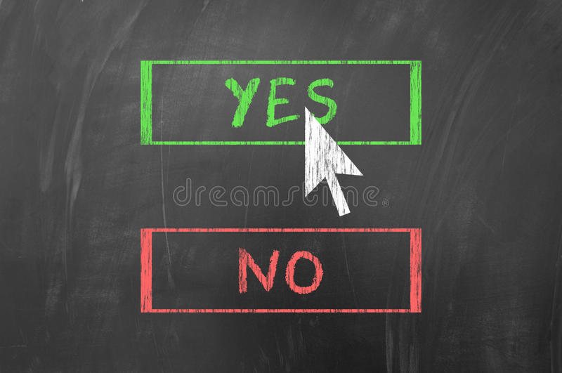 Yes or no. Chose yes or no with the mouse arrow on blackboard royalty free stock images