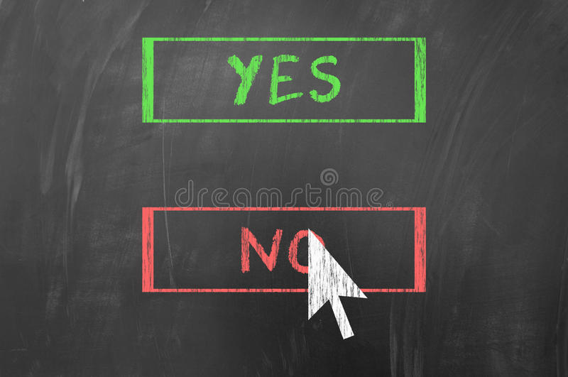 Yes or No. Concept using mouse pointing arrow on blackboard royalty free stock photography
