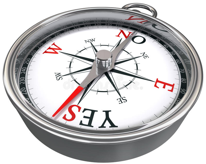 Yes or no dilemma compass royalty free stock photo