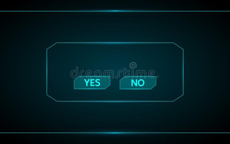 Yes and no game button vector design on technology futuristic interface hud background. Vector design royalty free illustration
