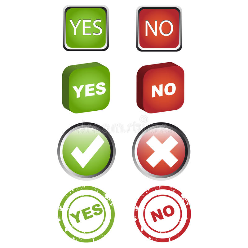 Yes and no icons set vector illustration