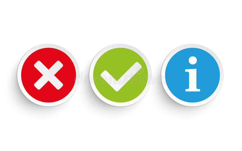 Yes No Info Round Paper Icons. Yes and no round icons on the white background royalty free illustration
