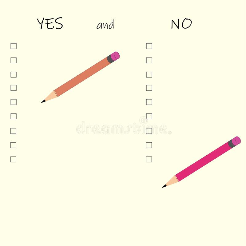 YES and NO LIST. PROS and CONS royalty free illustration