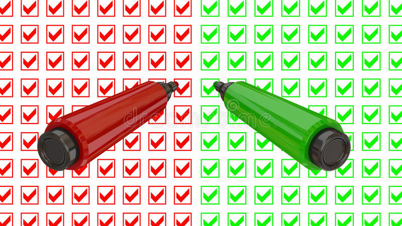 Yes and No marker pens. Do your choice concept. Isolated on white royalty free illustration
